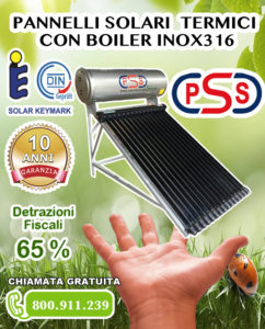 Pannaelli solari termici con boiler inox 316