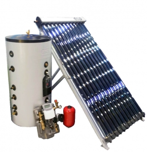 Kit Solare circ. forzata boiler 300 Lt. acciaio Inox 316 tubi sottovuoto HP Anti-Stagnazione