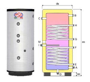 Boiler Accumulatore Verticale 300 Lt Vetrificato c/doppio scambiatore fisso