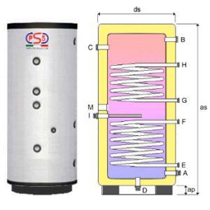 Accumulatore Verticale 300 Lt. Vetrificato c/doppio scambiatore