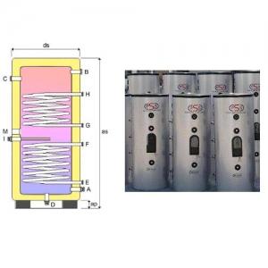 Accumulatore Verticale con doppio scambiatore acciaio inox 316