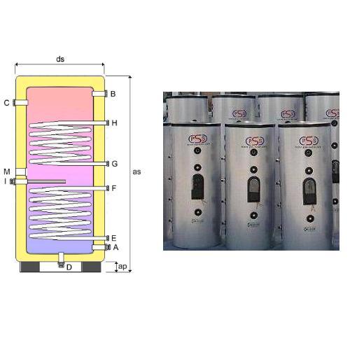 Boiler Accumulatore 150 Litri Verticale doppio scambiatore fisso acciaio inox 316